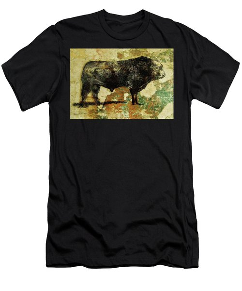 Men's T-Shirt (Slim Fit) featuring the drawing French Limousine Bull 11 by Larry Campbell
