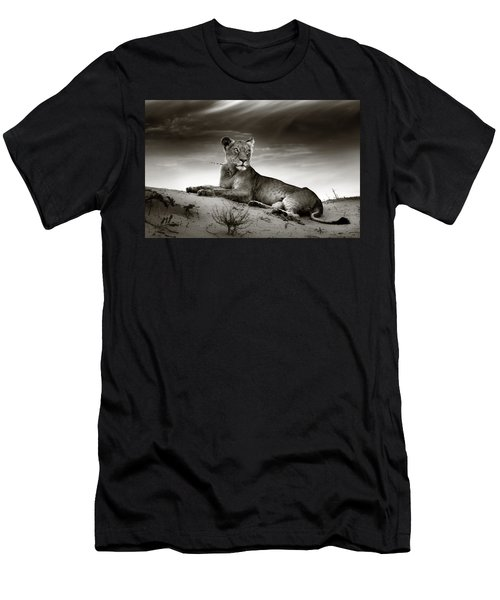 Lioness On Desert Dune Men's T-Shirt (Athletic Fit)