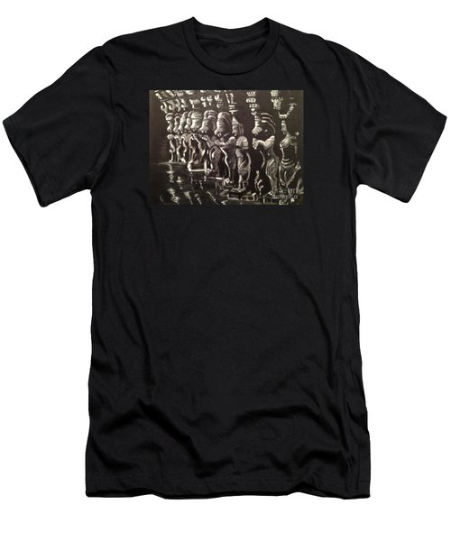 Men's T-Shirt (Slim Fit) featuring the painting Lionpillars by Brindha Naveen