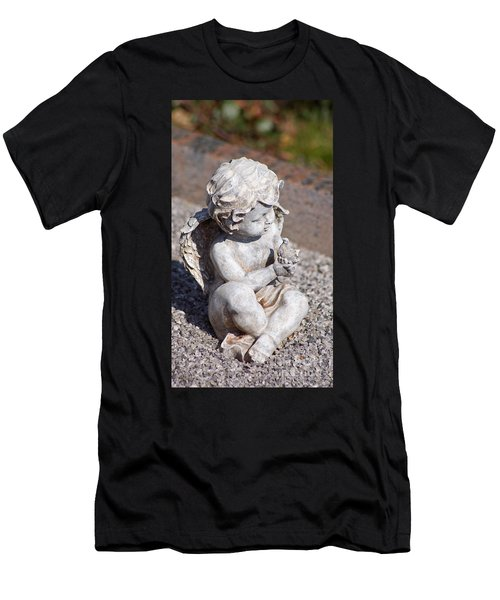 Little Angel With Bird In His Hand - Sculpture Men's T-Shirt (Athletic Fit)