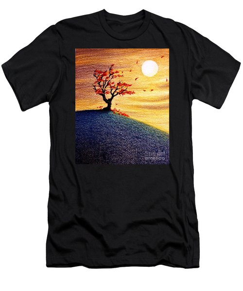 Little Autumn Tree Men's T-Shirt (Slim Fit) by Danielle R T Haney