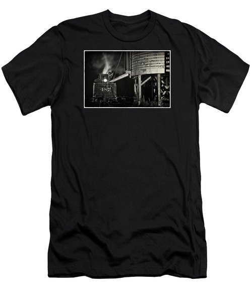 Men's T-Shirt (Slim Fit) featuring the photograph Loading Water At Chama Train Station by Priscilla Burgers