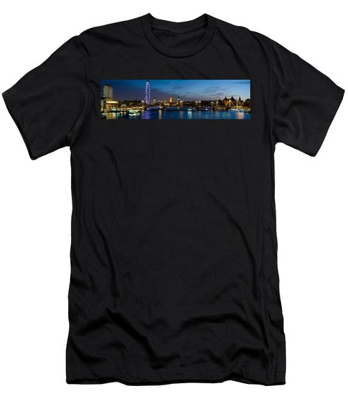 London Eye And Central London Skyline Men's T-Shirt (Slim Fit) by Panoramic Images