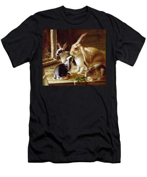 Long-eared Rabbits In A Cage Watched By A Cat Men's T-Shirt (Athletic Fit)