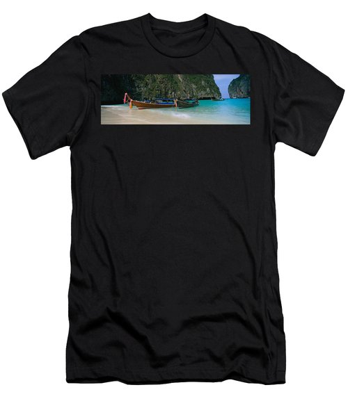 Longtail Boats Moored On The Beach, Ton Men's T-Shirt (Athletic Fit)