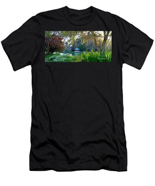 Looking Across Stow Lake At The Pagoda In Golden Gate Park Men's T-Shirt (Slim Fit) by Jim Fitzpatrick