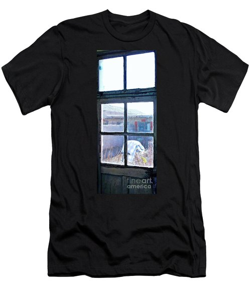 Men's T-Shirt (Slim Fit) featuring the photograph Looking Out The Kitchen Door In February by Ethna Gillespie