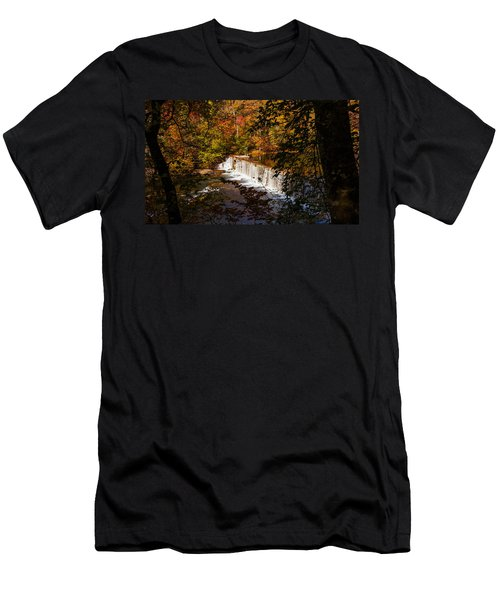 Looking Through Autumn Trees On To Waterfalls Fine Art Prints As Gift For The Holidays  Men's T-Shirt (Athletic Fit)