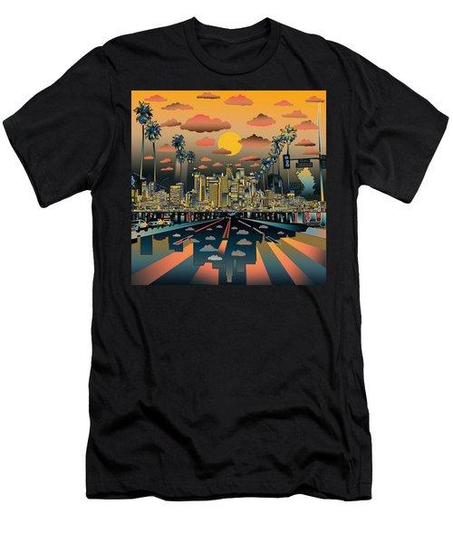Los Angeles Skyline Abstract 2 Men's T-Shirt (Slim Fit) by Bekim Art