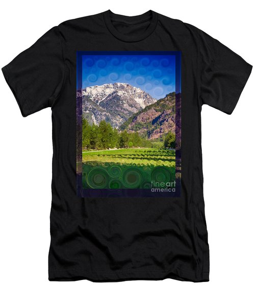 Lost River Airport Runway Abstract Landscape Painting Men's T-Shirt (Athletic Fit)