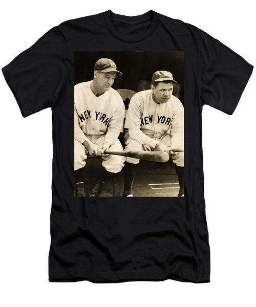 Lou Gehrig And Babe Ruth Men's T-Shirt (Slim Fit) by Bill Cannon