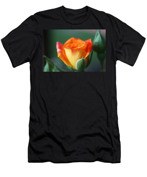 Men's T-Shirt (Slim Fit) featuring the photograph Louisiana Orange Rose by Ester  Rogers