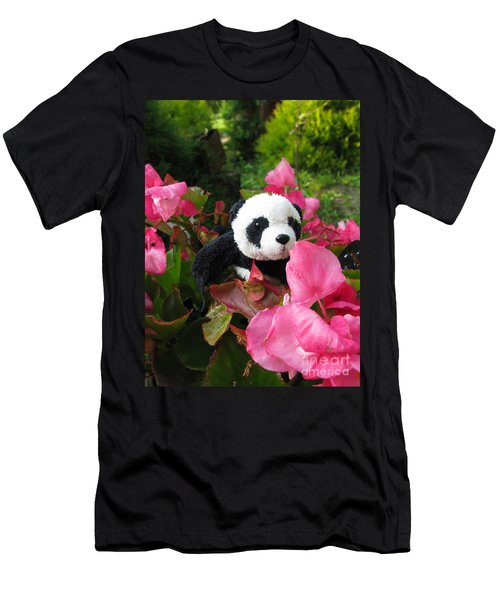 Lovely Pink Flower Men's T-Shirt (Slim Fit) by Ausra Huntington nee Paulauskaite
