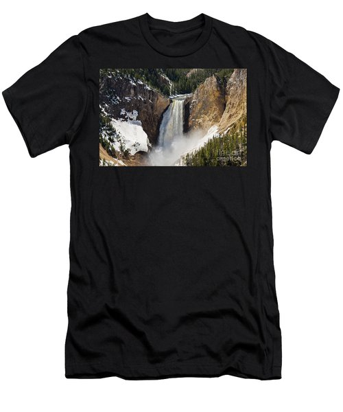Men's T-Shirt (Athletic Fit) featuring the photograph Lower Falls Of The Yellowstone by Sue Smith