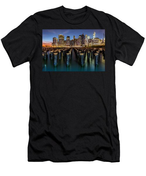 Lower Manhattan Men's T-Shirt (Slim Fit) by Mihai Andritoiu