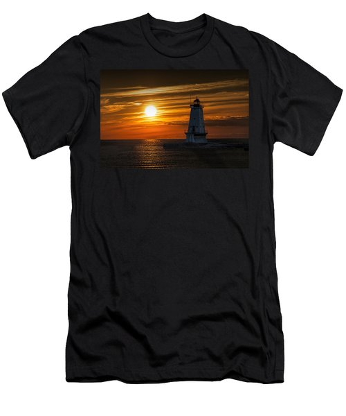 Ludington Pier Lighthead At Sunset Men's T-Shirt (Slim Fit) by Randall Nyhof