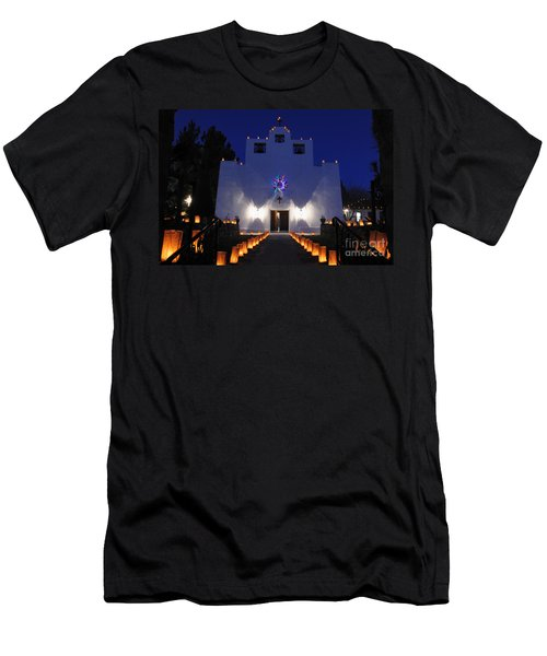 Luminarias At St Francis De Paula Men's T-Shirt (Slim Fit) by Vivian Christopher