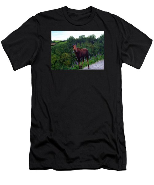 Men's T-Shirt (Slim Fit) featuring the painting Lupine Loving Moose by Barbara Griffin