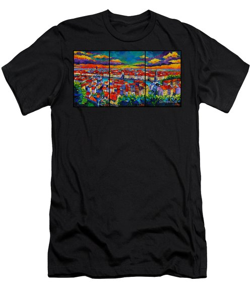 Lyon Panorama Triptych Men's T-Shirt (Athletic Fit)