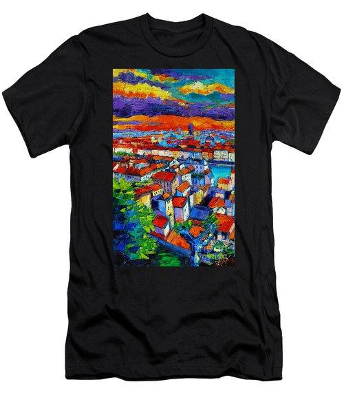 Lyon View - Triptych Left Panel Men's T-Shirt (Athletic Fit)