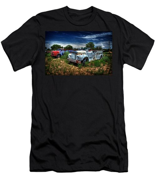 Men's T-Shirt (Slim Fit) featuring the photograph Mack Fire Truck And Graffiti Fire Truck by Ken Smith