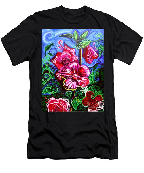 Magenta Fleur Symphonic Zoo I Men's T-Shirt (Slim Fit) by Genevieve Esson