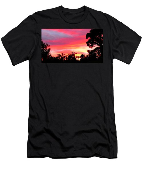 Men's T-Shirt (Slim Fit) featuring the photograph Magenta Sunset by DigiArt Diaries by Vicky B Fuller