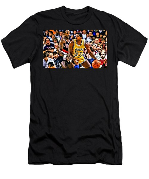 Magic Johnson Vs Clyde Drexler Men's T-Shirt (Slim Fit) by Florian Rodarte
