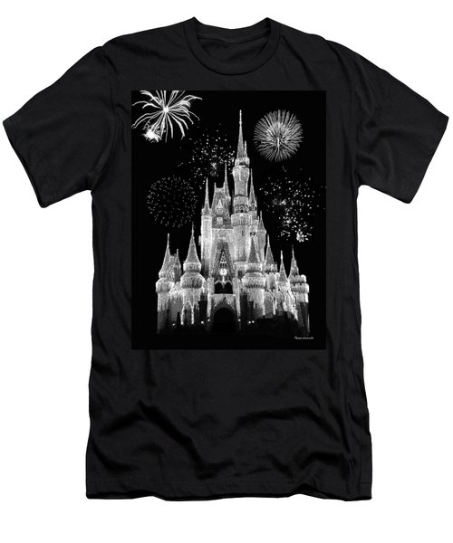 Magic Kingdom Castle In Black And White With Fireworks Walt Disney World Men's T-Shirt (Slim Fit) by Thomas Woolworth