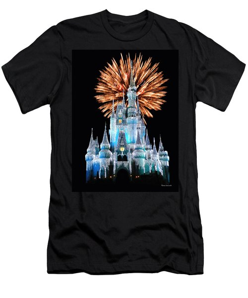 Magic Kingdom Castle In Frosty Light Blue With Fireworks 02 Men's T-Shirt (Athletic Fit)