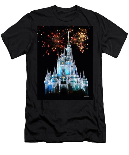 Magic Kingdom Castle In Frosty Light Blue With Fireworks 03 Men's T-Shirt (Athletic Fit)