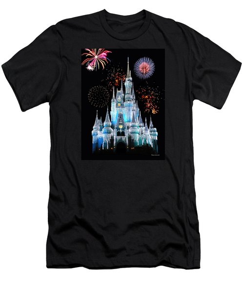 Magic Kingdom Castle In Frosty Light Blue With Fireworks 06 Men's T-Shirt (Slim Fit) by Thomas Woolworth