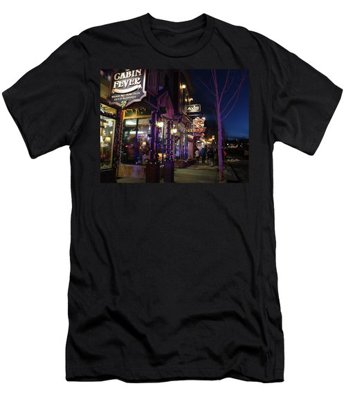 Main Street Breckenridge Colorado Men's T-Shirt (Slim Fit) by Fiona Kennard