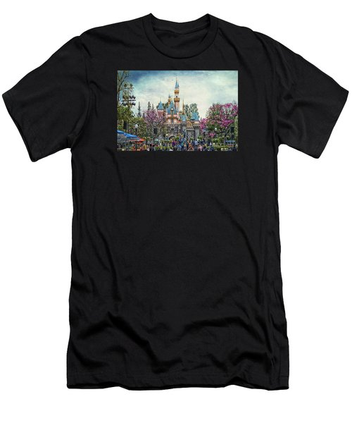 Main Street Sleeping Beauty Castle Disneyland Textured Sky Men's T-Shirt (Athletic Fit)