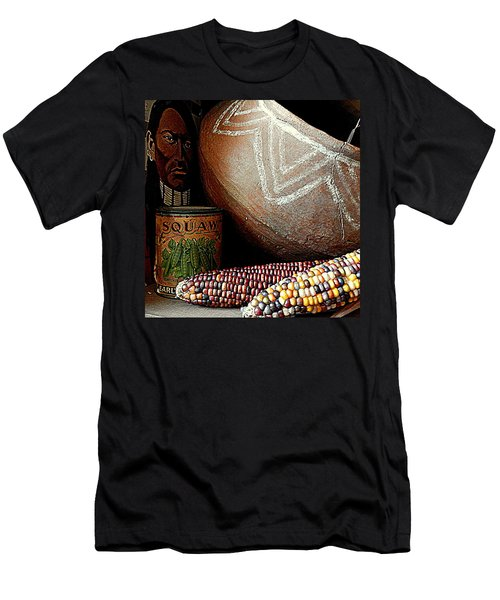 Pottery And Maize Indian Corn Still Life In New Orleans Louisiana Men's T-Shirt (Slim Fit) by Michael Hoard