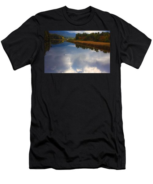 Men's T-Shirt (Slim Fit) featuring the photograph Mallard Duck On Lake In Adirondack Mountains In Autumn by Jerry Cowart