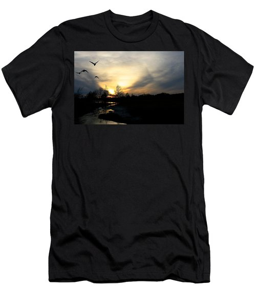 Mallards Silhouette At Sunset Men's T-Shirt (Athletic Fit)