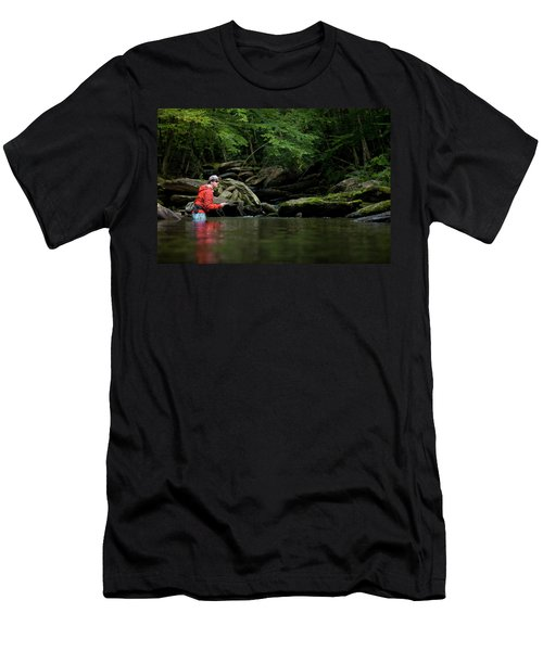 Man Casts Fly Rod In Wooded Creek Men's T-Shirt (Athletic Fit)