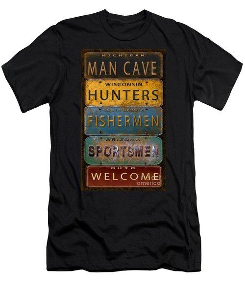 Man Cave-license Plate Art Men's T-Shirt (Athletic Fit)