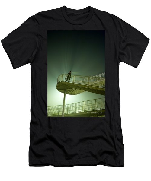 Men's T-Shirt (Slim Fit) featuring the photograph Man On Stairs With Case In Fog by Lee Avison