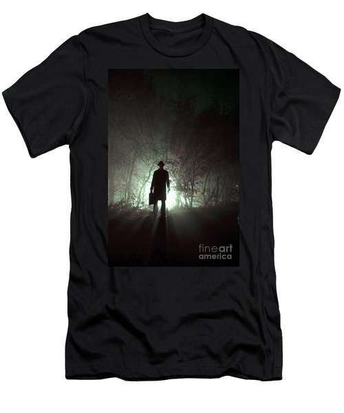 Men's T-Shirt (Slim Fit) featuring the photograph Man Waiting In Fog With Case by Lee Avison