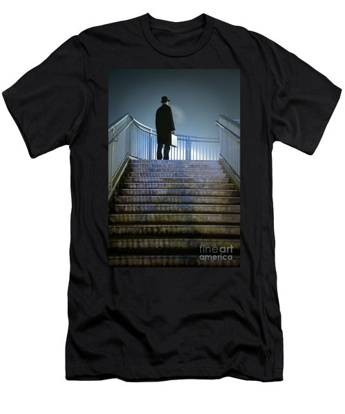 Men's T-Shirt (Slim Fit) featuring the photograph Man With Case At Night On Stairs by Lee Avison