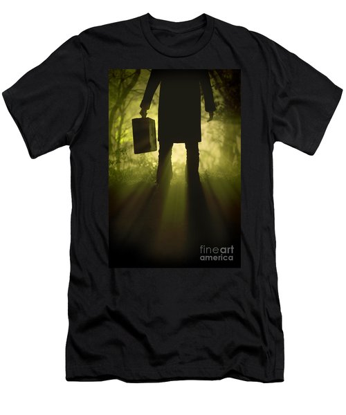 Men's T-Shirt (Slim Fit) featuring the photograph Man With Case In Fog by Lee Avison
