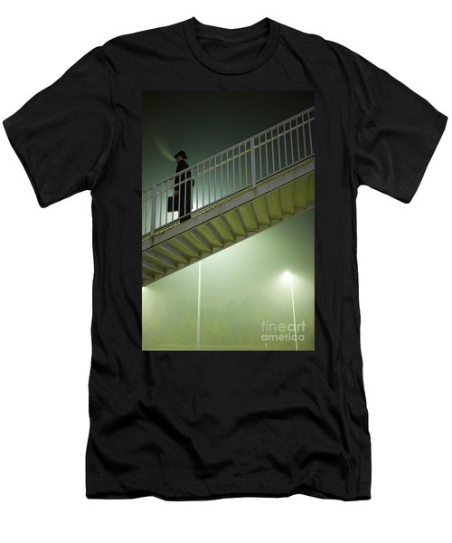 Men's T-Shirt (Slim Fit) featuring the photograph Man With Case On Steps Nighttime by Lee Avison