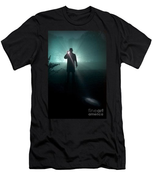 Men's T-Shirt (Slim Fit) featuring the photograph Man With Flashlight  by Lee Avison