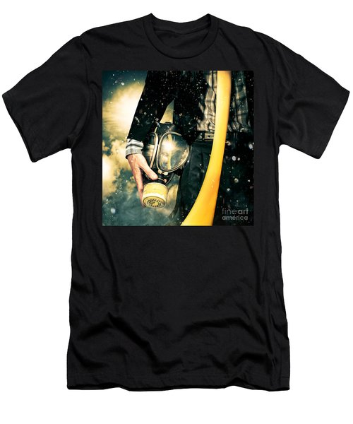 Man With Gas Mask. New Beginning. Skys The Limit Men's T-Shirt (Athletic Fit)