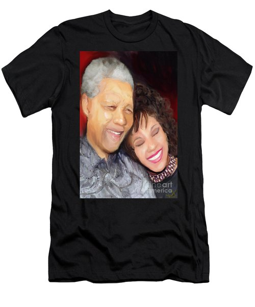 Men's T-Shirt (Slim Fit) featuring the painting Mandela And Whitney by Vannetta Ferguson