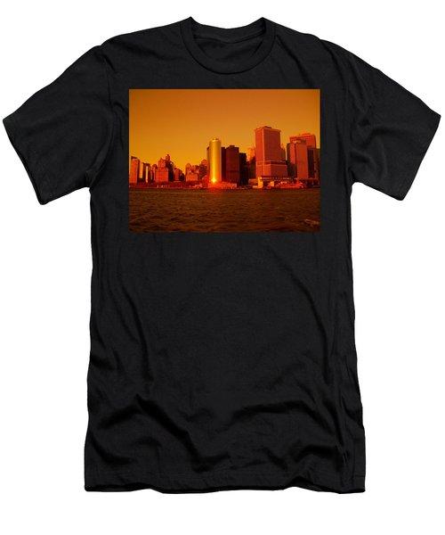 Manhattan Skyline At Sunset Men's T-Shirt (Athletic Fit)
