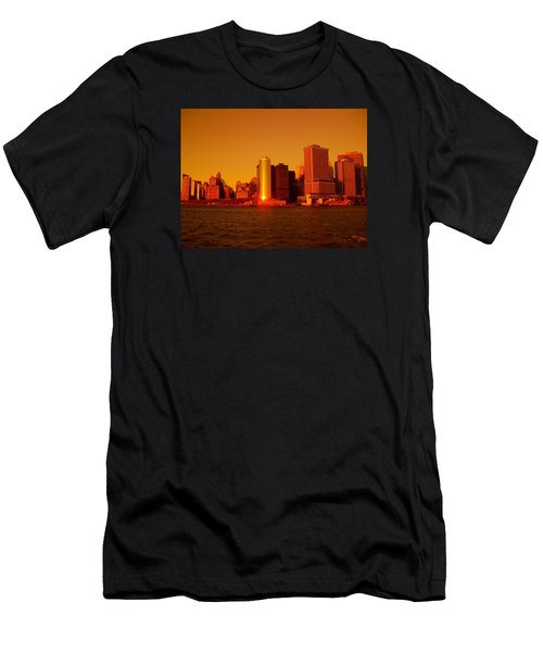 Manhattan Skyline At Sunset Men's T-Shirt (Athletic Fit)