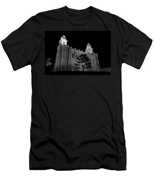 Manti Temple Black And White Men's T-Shirt (Athletic Fit)